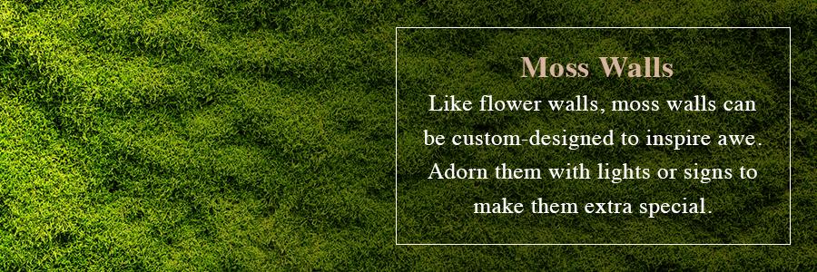 using moss walls at weddings